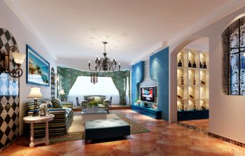 地中海风格100平米2房1厅房子装饰效果图