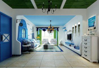地中海风格80平米二房一厅新房装修效果图