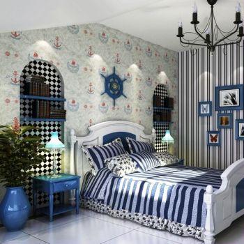 儿童房背景墙地中海风格装潢设计图片
