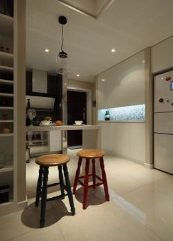 厨房白色吧台混搭风格装饰效果图