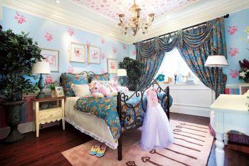 儿童房蓝色背景墙混搭风格装修设计图片