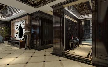 玄关黑色门厅新中式风格装饰图片