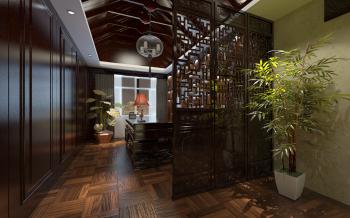 书房黄色地板砖新中式风格装潢图片
