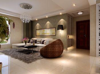 客厅白色灯具现代简约风格装饰设计图片
