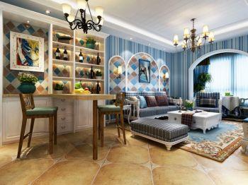 蓝白色80平米地中海风格二居室装修效果图