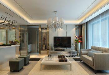 客厅白色灯具现代简约风格装潢设计图片