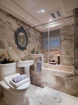 卫生间白色隔断美式风格装饰设计图片