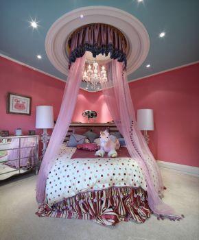 卧室粉色背景墙地中海风格装潢效果图
