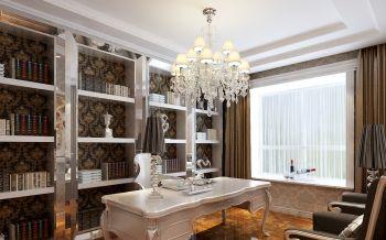 书房白色书桌简欧风格装修效果图