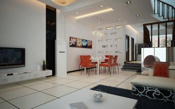 客厅白色地砖现代简约风格装修图片