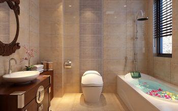 卫生间黄色背景墙中式风格装潢图片