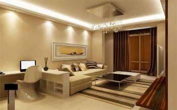 客厅白色灯具现代简约风格装潢效果图