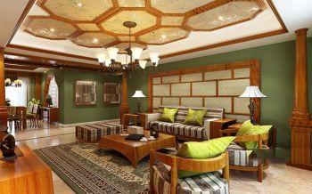 客厅黄色吊顶东南亚风格装饰设计图片