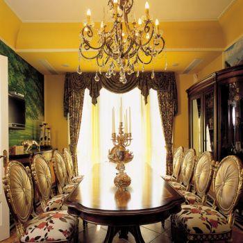餐厅黑色灯具混搭风格装潢设计图片