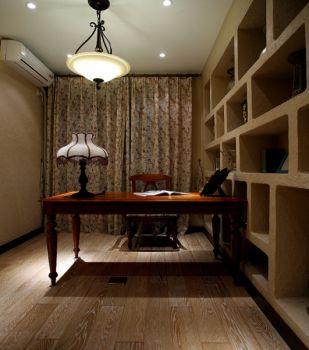 书房黄色书桌田园风格装饰效果图