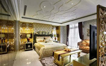 卧室黄色背景墙现代欧式风格效果图