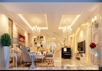 客厅白色地板砖欧式风格装饰图片