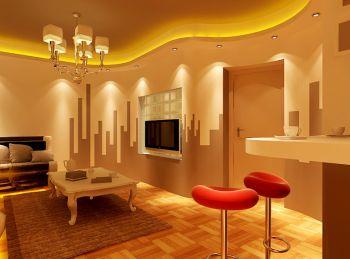 富裕中心现代时尚型两室两厅装修效果图