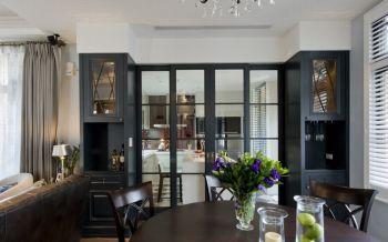餐厅黑色推拉门美式风格装饰设计图片
