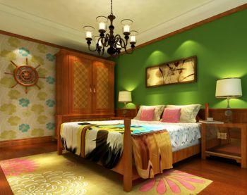 儿童房背景墙东南亚风格装饰图片