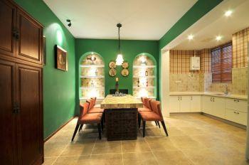 餐厅绿色背景墙混搭风格装潢图片