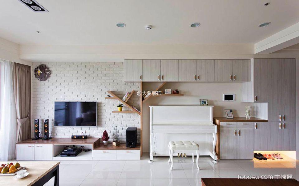 客厅 背景墙_清新两居室简约装修效果图