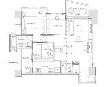清新两居室简约装修效果图