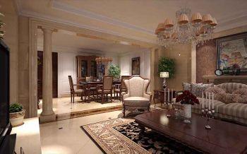 客厅黄色门厅美式风格装潢设计图片