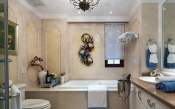 卫生间黄色背景墙法式风格装饰设计图片