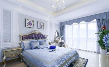 卧室蓝色窗帘法式风格装修设计图片