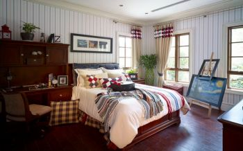 卧室咖啡色书桌美式风格装潢设计图片