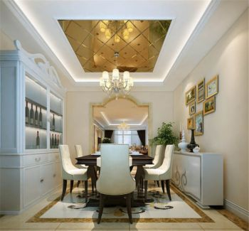 餐厅白色照片墙现代欧式风格装潢效果图
