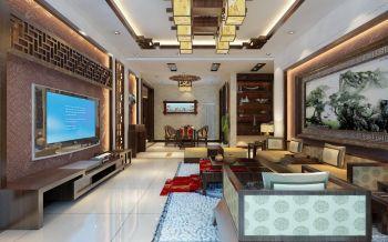 中式古典风格120平米三居室装修效果图