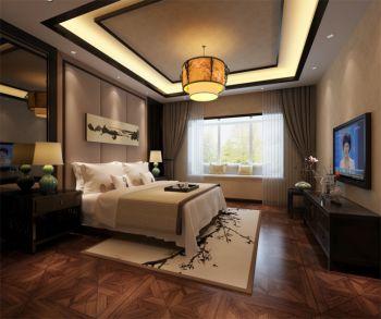 绿城玫瑰园现代中式三居室装修效果图