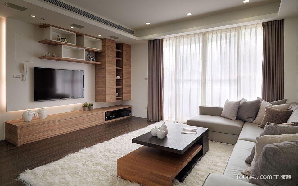 客厅_现代简约风格120平米3房1厅房子装饰效果图