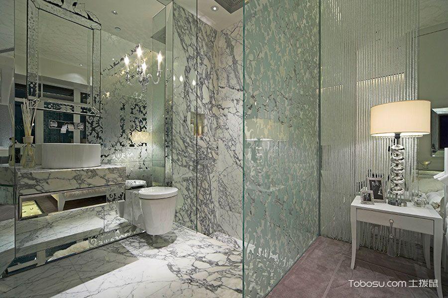 卫生间白色隔断简欧风格装潢设计图片