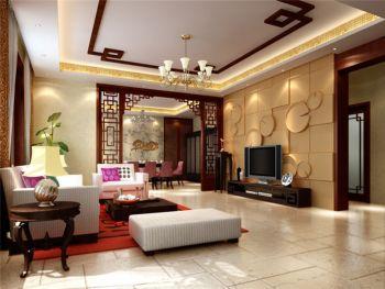 业主是一对中年夫妇,比较喜欢中式风格,客厅的电视墙采用了荷叶造型的几何图案,荷花有君子之花之称,在餐厅吊顶上打破了以往的设计手法运用了祥云图案,整个客厅和餐厅用金色马赛克贯穿吊顶,在整体效果上又提升整套居室的富贵气息。
