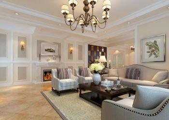御龙湾三居室现代美式风格装修效果图