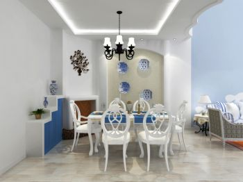 餐厅背景墙地中海风格装修效果图