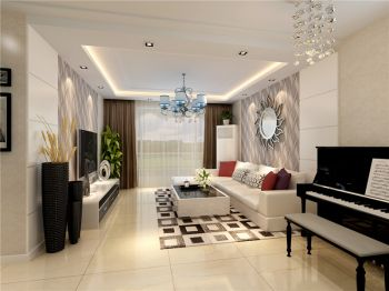 水墨兰庭两室两厅家居现代简约风格效果图