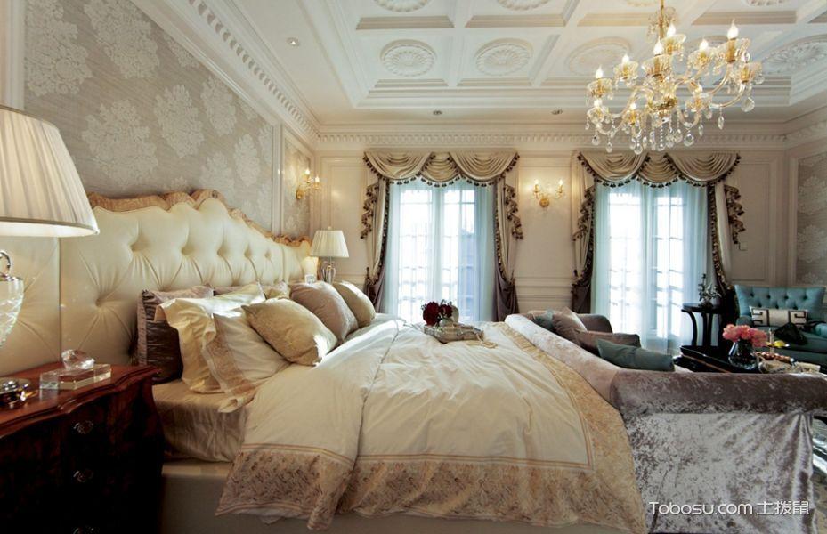 卧室黄色床法式风格装潢图片