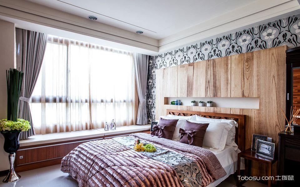 卧室白色飘窗混搭风格装潢设计图片