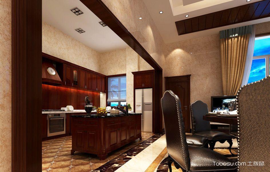 厨房红色吧台美式风格装修设计图片