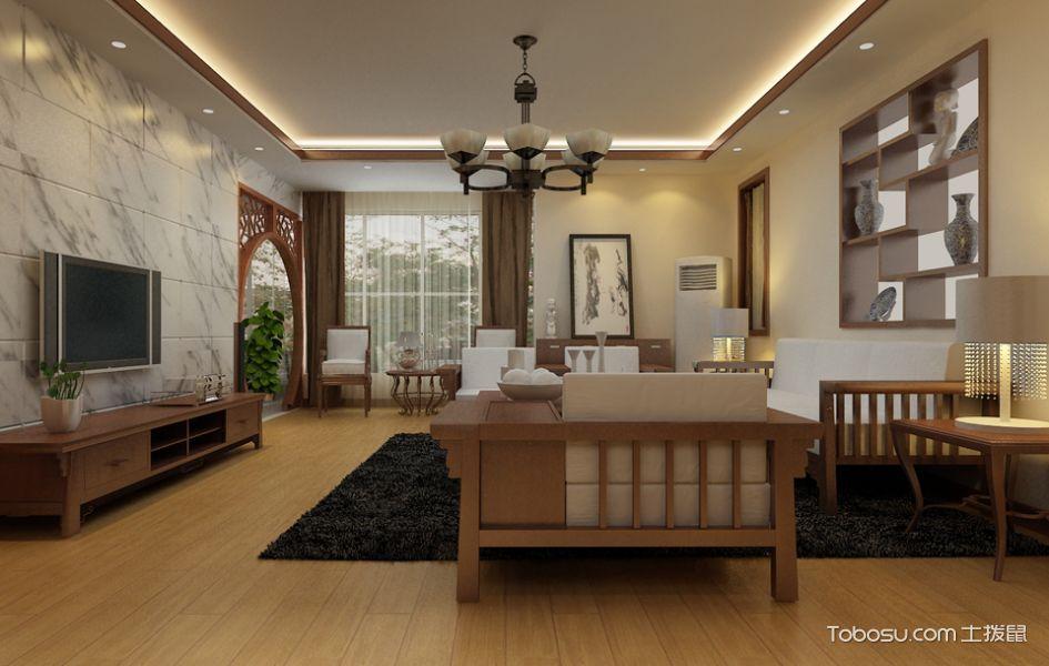 客厅黄色博古架新中式风格装饰设计图片