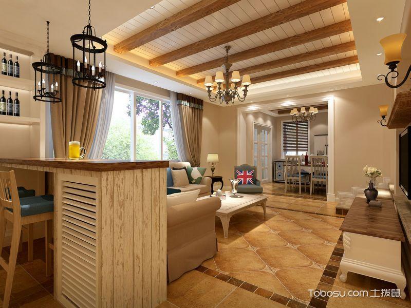 客厅黄色吧台美式风格装潢图片