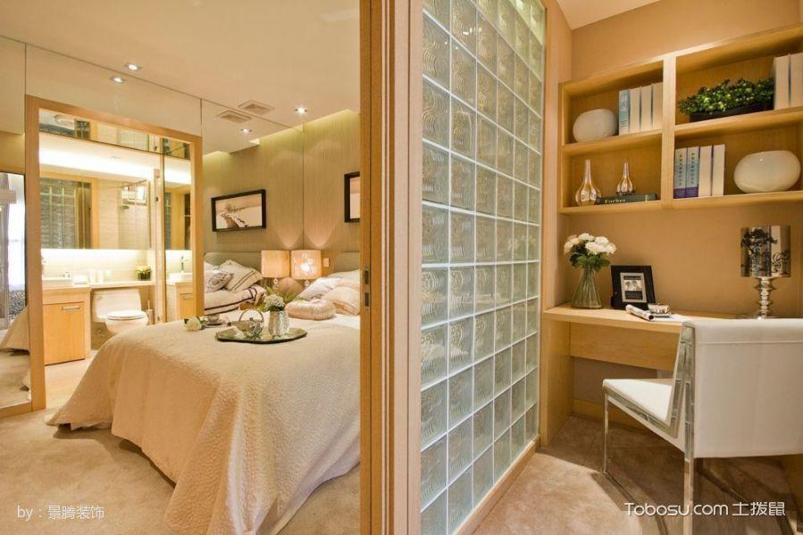 卧室黄色推拉门现代风格装饰设计图片