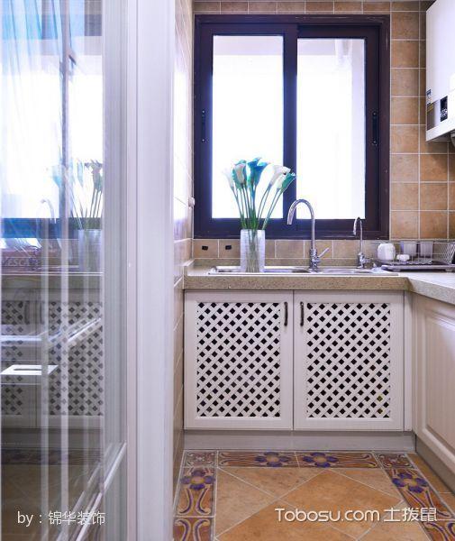 厨房白色推拉门美式风格效果图