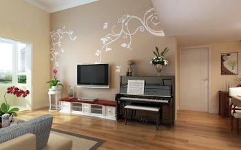 客厅背景墙美式风格装修设计图片