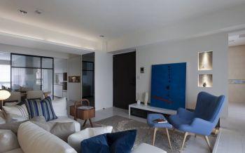 客厅白色背景墙现代风格装潢图片