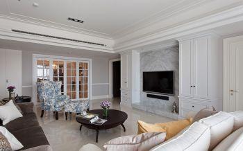 客厅白色背景墙美式风格装饰效果图